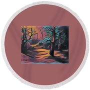 Winter Sunset Digital  Round Beach Towel