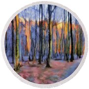 Winter Sunset In The Beech Wood Round Beach Towel