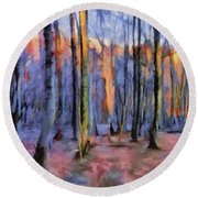 Winter Sunset In The Beech Wood Round Beach Towel by Menega Sabidussi
