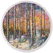 Dylan's Snowman - Winter Sunset Landscape Impressionistic Painting With Palette Knife Round Beach Towel
