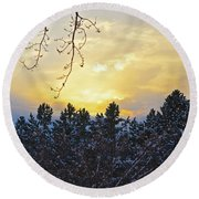 Winter Sunset On The Tree Farm #1 Round Beach Towel