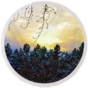 Winter Sunset On The Tree Farm #2 Round Beach Towel