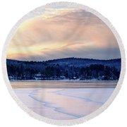 Winter Sunset On Wilson Lake In Wilton Me  -78091-78092 Round Beach Towel