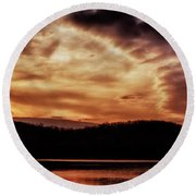 Round Beach Towel featuring the photograph Winter Sunset by Thomas R Fletcher