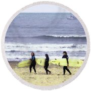 Round Beach Towel featuring the photograph Winter Surfers by Timothy Bulone
