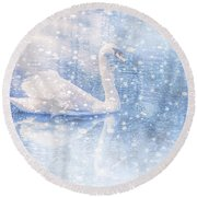 Round Beach Towel featuring the photograph Winter Swan by Geraldine DeBoer
