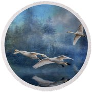 Winter Swans Round Beach Towel