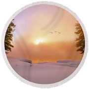 Round Beach Towel featuring the photograph Winter Swans by Leland D Howard