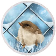 Round Beach Towel featuring the painting Winter Sweetness  by Veronica Minozzi