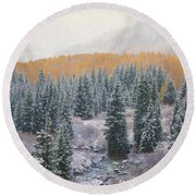 Winter Touches The Mountain Round Beach Towel by Kristal Kraft
