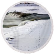 Winter Tracks Round Beach Towel by Eric Nielsen