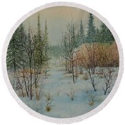 Winter Trail Alberta Round Beach Towel