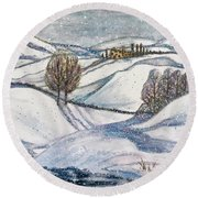 Round Beach Towel featuring the painting Winter Tranquility by Rae Chichilnitsky