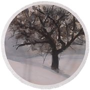 Round Beach Towel featuring the painting Winter Tree by Laurie Rohner