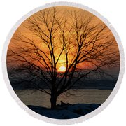 Winter Tree Sunrise Round Beach Towel