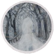 Round Beach Towel featuring the painting Winter Tree Tunnel by Robin Maria Pedrero