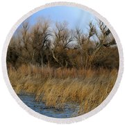 Winter Trees Along The Snake Round Beach Towel