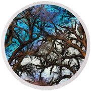 Round Beach Towel featuring the photograph Winter Trees At Fort Tejon Lebec California Abstract by Floyd Snyder