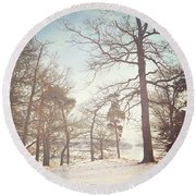 Round Beach Towel featuring the photograph Winter Trees by Lyn Randle