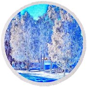 Round Beach Towel featuring the digital art Winter Trees by Ron Bissett