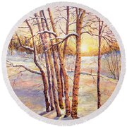 Winter Trees Sunrise Round Beach Towel by Lou Ann Bagnall