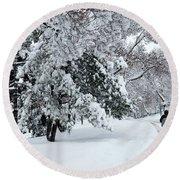 Round Beach Towel featuring the photograph Winter Trekking-3 by Okan YILMAZ