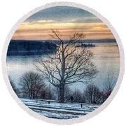 Winter Twilight At Fort Allen Park Round Beach Towel