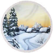 Winter Twilight Round Beach Towel by Inese Poga