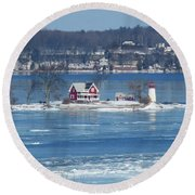 Winter View Of Crossover Island Round Beach Towel