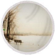 Winter View Over Montreal Round Beach Towel