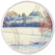 Winter Village Round Beach Towel