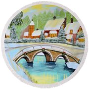 Round Beach Towel featuring the painting Winter Village by Magdalena Frohnsdorff