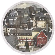 Winter Village With Red House Round Beach Towel