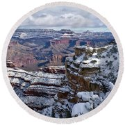 Winter Vista - Grand Canyon Round Beach Towel
