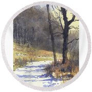 Winter Walk Round Beach Towel