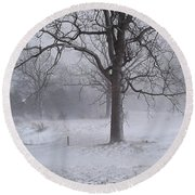 Winter Walnut Round Beach Towel