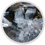 Winter Water Flow 4 Round Beach Towel