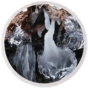 Winter Water Flow 5 Round Beach Towel