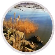 Winter Water Round Beach Towel