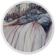 Round Beach Towel featuring the painting Winter Waterfall by Marilyn  McNish