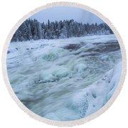 Winter Waterfall Round Beach Towel by Tamara Sushko