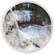 Winter Waterfalls Round Beach Towel