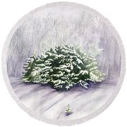 Round Beach Towel featuring the painting Winter Wind by Melly Terpening