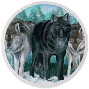 Winter Wolves Round Beach Towel