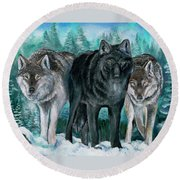 Winter Wolves Round Beach Towel