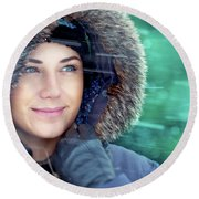 Winter Woman Portrait Round Beach Towel
