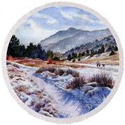Round Beach Towel featuring the painting Winter Wonderland by Anne Gifford