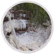 Winter Wonderland At Kaaterskill Falls Round Beach Towel