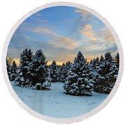 Winter Wonderland  Round Beach Towel by Emmanuel Panagiotakis