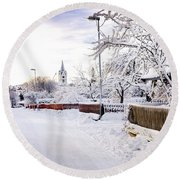 Winter Wonderland Round Beach Towel by Marius Sipa